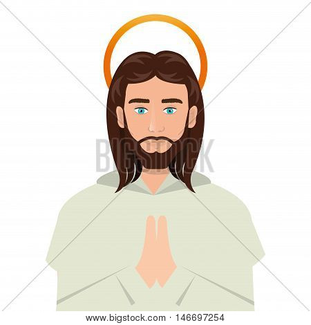 jesus christ man with halo cartoon. catholic religion. vector illustration