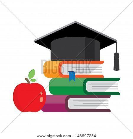 books with hat on them. Graduation cap symbol of education, learning, knowledge, intelligence, flat cartoon.. Vector illustration