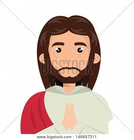 jesus christ man cartoon. catholic religion. vector illustration