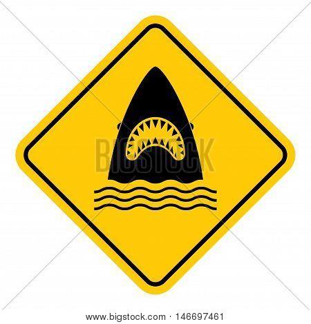 Shark danger caution sign. Sea predator warning symbol. vector illustration.
