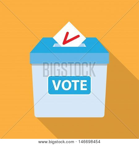 Voting concept in flat style putting paper in the ballot box