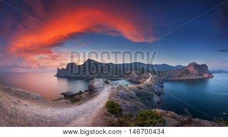 Beautiful Panoramic Landscape With Mountains, Sea At Sunset