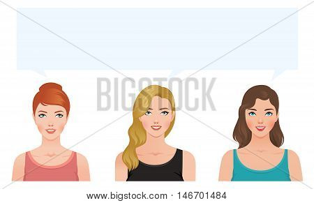Stock vector illustration of three young women blonde brunette and redhead looking up think about something together