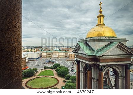 view of St. Petersburg from the colonnade of St. Isaac's Cathedral