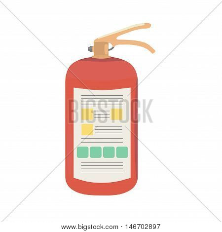 New fire extinguisher with instructions. Vector illustration.