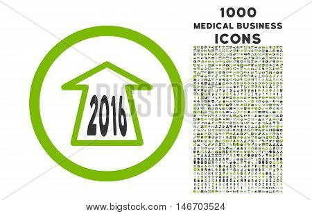 2016 Ahead Arrow rounded vector bicolor icon with 1000 medical business icons. Set style is flat pictograms, eco green and gray colors, white background.