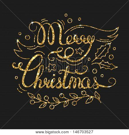 Merry Christmas Golden Lettering Design. Typographic Background with Christmas Greetings. Line Art Style Vector Illustration. Shiny gold glitter print with quote for housewarming items.