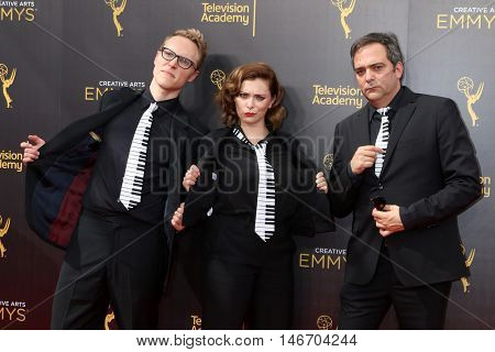 LOS ANGELES - SEP 10:  Jack Dolgen, Rachel Bloom, Adam Schlesinger at the 2016 Creative Arts Emmy Awards - Day 1 - Arrivals at the Microsoft Theater on September 10, 2016 in Los Angeles, CA