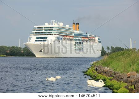 Velsen the Netherlands June 4th 2016: Costa Neo Romantica on North Sea Canal towards North Sea