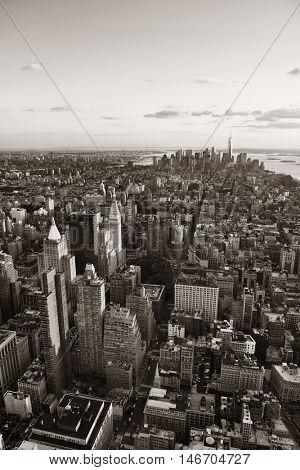 New York City downtown skyline view.