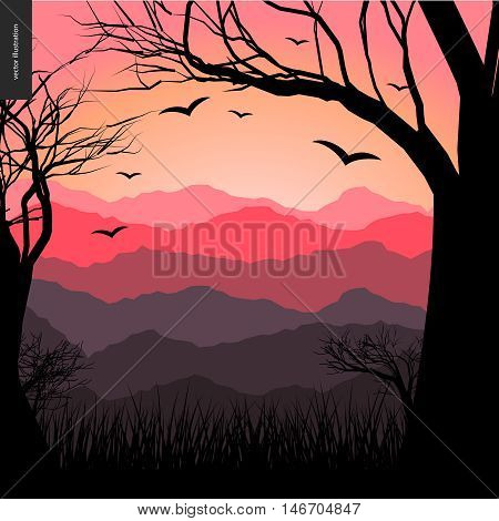 Layered landscape illustarted poster. Vector cartoon illustration of a forest landscape, flying black birds, a black tree amd grass on the foreground and sunset lighted hills on the background.