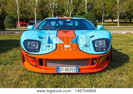 Mogliano VenetoItaly Sept 112016:Photo of Ford GT40 Gulf at meeting Top Selection 2016. Is a high performance American-British endurance racing car designed and built in England and in the United States and powered by a series of American-built engines.