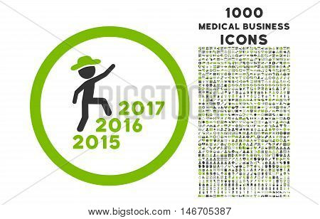 Gentleman Steps Years rounded vector bicolor icon with 1000 medical business icons. Set style is flat pictograms, eco green and gray colors, white background.