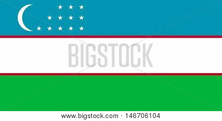 Flag of Uzbekistan in correct size proportions and colors. Accurate official standard dimensions. Uzbek national flag. Patriotic symbol banner element background. Vector illustration