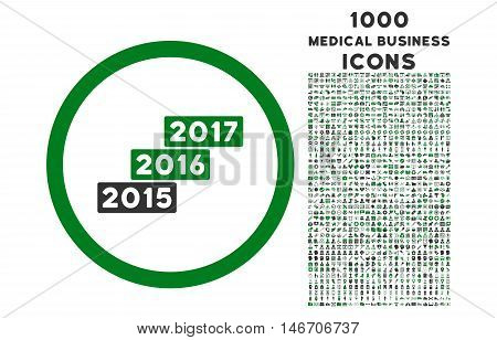 Years Stairs rounded vector bicolor icon with 1000 medical business icons. Set style is flat pictograms, green and gray colors, white background.