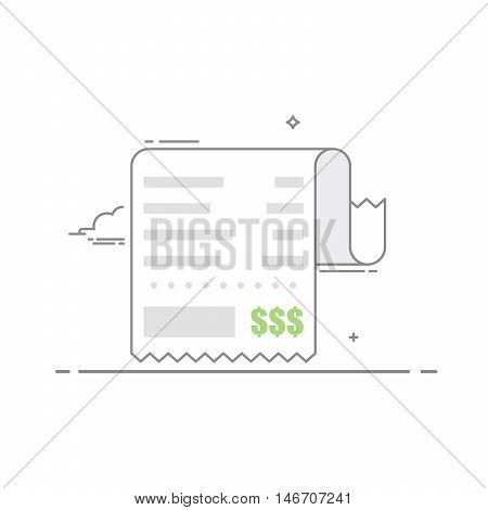 Receipt with the shopping list and the value of the goods. Financial document . Concept receipt thin line icon with a total cost. Vector illustration in a linear style isolated on white background