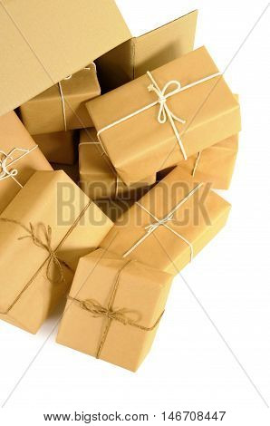 Cardboard shipping box with several brown paper mail packages inside