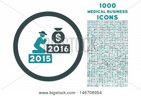 Pray for Money 2016 rounded vector bicolor icon with 1000 medical business icons. Set style is flat pictograms, soft blue colors, white background.