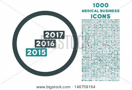Years Stairs rounded vector bicolor icon with 1000 medical business icons. Set style is flat pictograms, soft blue colors, white background.