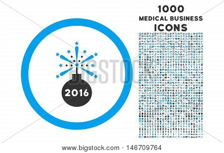 2016 Fireworks Detonator rounded vector bicolor icon with 1000 medical business icons. Set style is flat pictograms, blue and gray colors, white background.