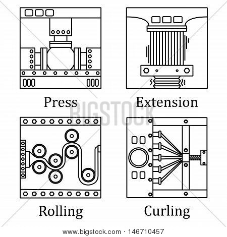 A Set Of Four Images Of Technological Processes: Pressing, Twisting, Rolling, Stretching