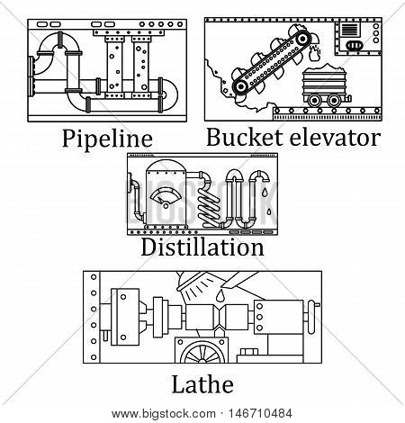 A Set Of Four Images Of A Technological Industrial Machine