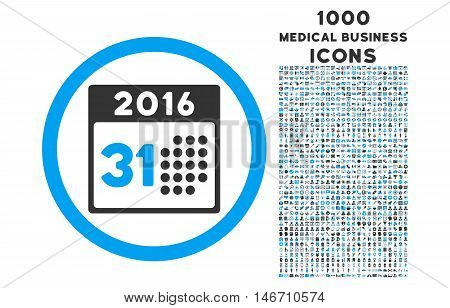 Last 2016 Month Day rounded vector bicolor icon with 1000 medical business icons. Set style is flat pictograms, blue and gray colors, white background.