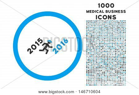 Run to 2016 Year rounded vector bicolor icon with 1000 medical business icons. Set style is flat pictograms, blue and gray colors, white background.
