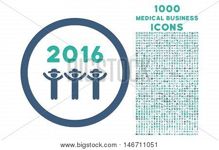 2016 Guys Dance rounded vector bicolor icon with 1000 medical business icons. Set style is flat pictograms, cobalt and cyan colors, white background.