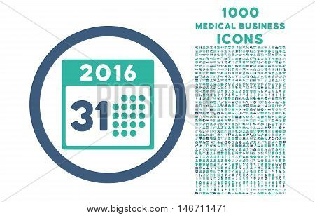 Last 2016 Month Day rounded vector bicolor icon with 1000 medical business icons. Set style is flat pictograms, cobalt and cyan colors, white background.