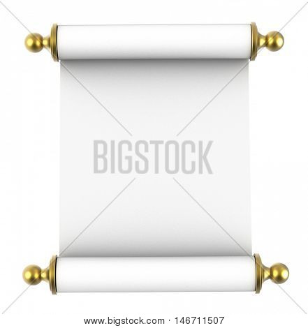 Scroll paper with golden handles isolated on white background. 3D illustration.