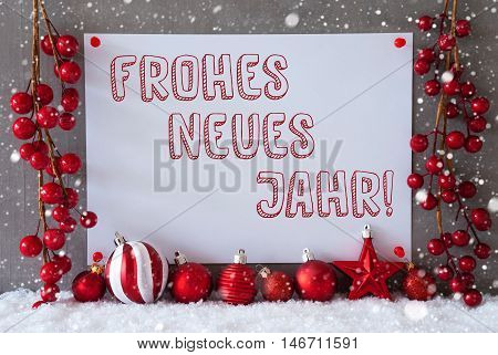 Label With German Text Frohes Neues Jahr Means Happy New Year. Red Christmas Decoration Like Balls On Snow. Urban And Modern Cement Wall As Background With Snowflakes.