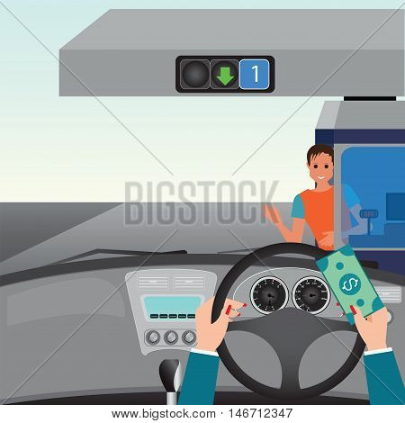 Human hands driving a car and showing car paying to access Highway toll car interior flat design vector illustration.