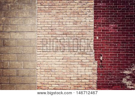 Old crooked brick wall