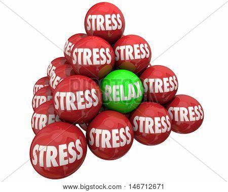 Stress Vs Relax Ball Pyramid Burdens Relief 3d Illustration