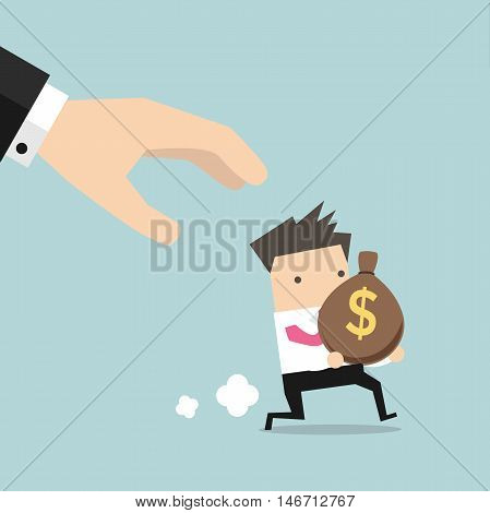 Cartoon hand tries to grab the bag of money running businessman.