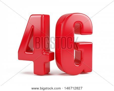 3d rendering of 4G icon isolated on white