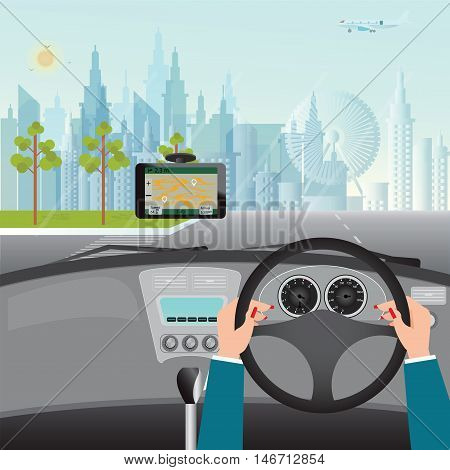 Human hands driving a car with Gps Navigation System In Car flat design vector illustration.
