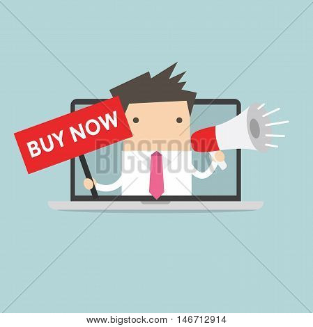 Businessman holding BUY NOW sign and megaphone in computer notebook