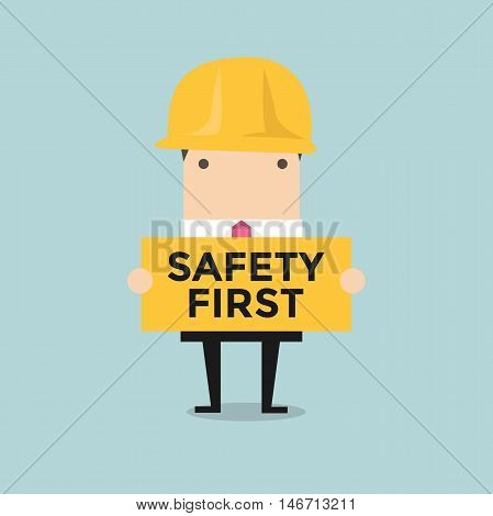 Businessman holding safety first sign vector illustration