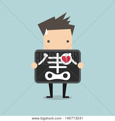 Businessman broken heart with x-ray scan, heartbreak