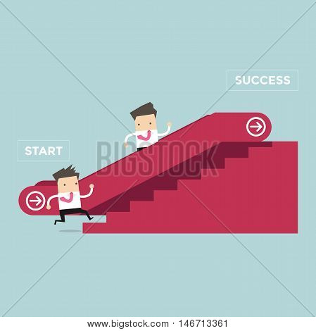 Businessman who going up to escalator to success and another man who is climbing the stairs