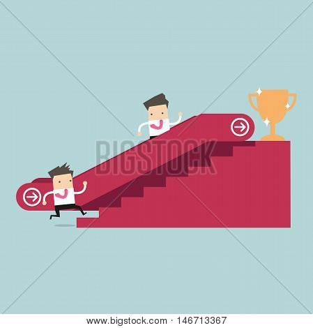Businessman who going up to escalator to success trophy and another man who is climbing the stairs