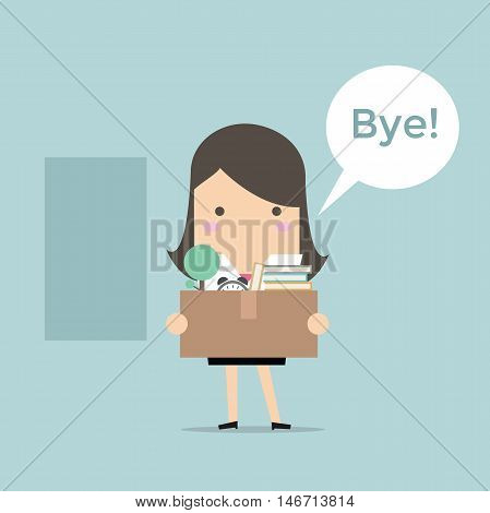 Business woman leaving a job. vector illustration