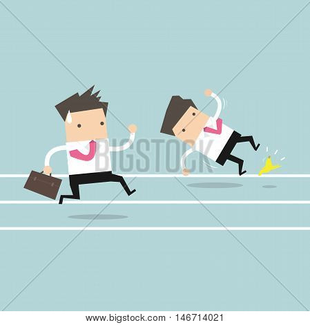 Businessman running with his competitor. Business competition concept