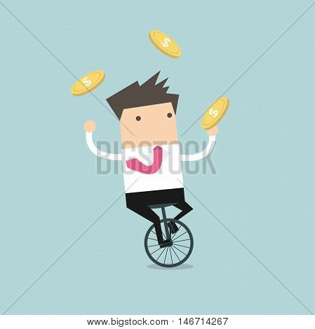 Businessman juggling coin while cycling. vector illustration