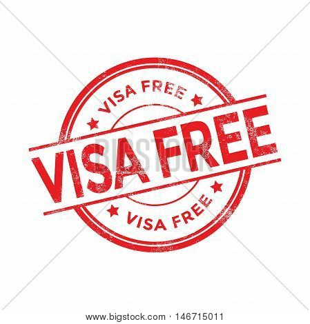 Visa free red rubber stamp isolated. vector illustration