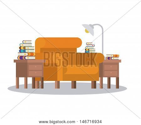 livingroom library books chair seat table lamp home literature learning knowledge icon. Colorful design. Vector illustration
