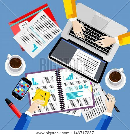 Business office and workspace background, vector illustration. Businessman working on laptop at office desk with paperwork, smartphone, coffee cup and other objects, top view. Workplace background