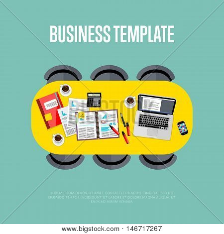 Business template. Top view of conference room, vector illustration. Oval table and six chairs around. Laptop, smartphone, coffee cups and financial documents on table. Business meeting.
